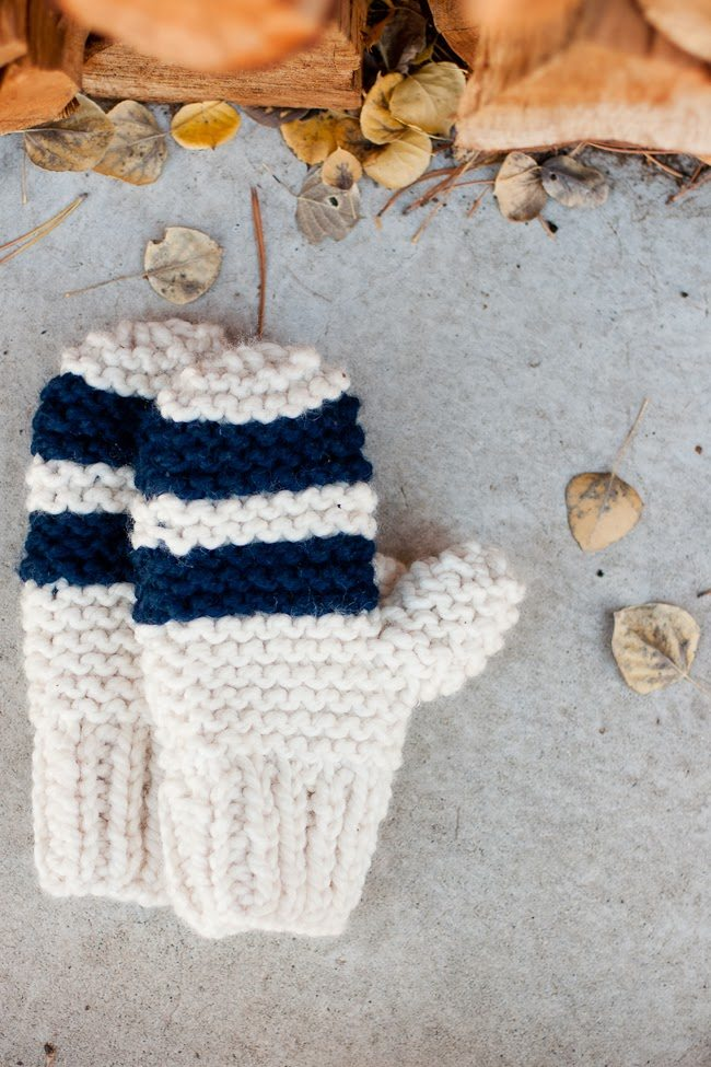 Garter Stitch Chunky Mittens, Striped or Color Block - A Quick Cozy Knit Gift...