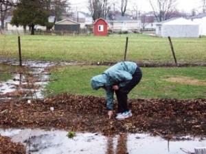 Gardener in the rain