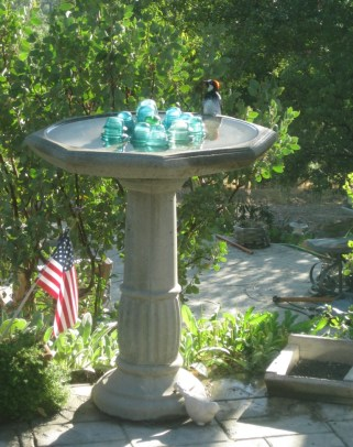 Garden junk. Birdbath
