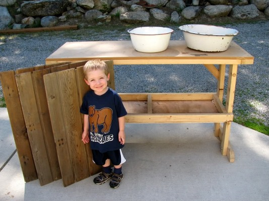 Helping with potting bench