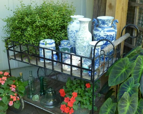Kathleen Vedder's collection of blue & white, all from thrift stores, could sit on a French patio