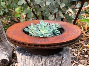Rusty old Brake rotor makes an unusual 'container'