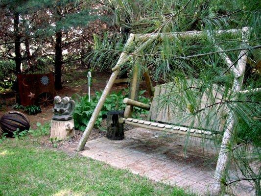 Jeanne's secret garden in the pines.