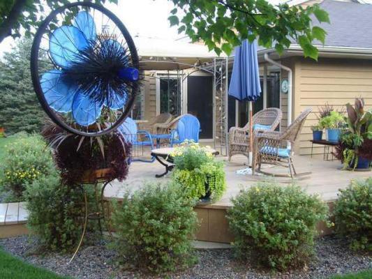 Lark Kulikowski's all blue bike wheel art.  It spins, too!