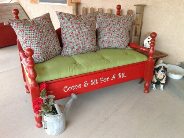 """Jodi Mihelich's re-purposed garden bench. """"This is a bench I made out of an old waterbed that was my Grandpa's."""" she says."""