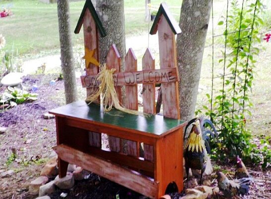 June Barnett's conventional bench, jazzed up with old fence boards