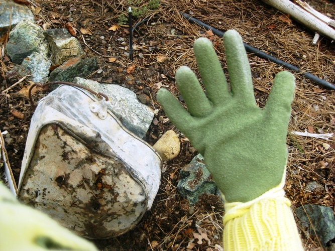 Wear gloves around rust, sharp metal and glass