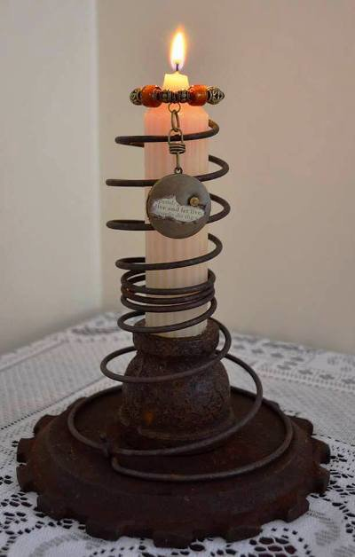 Marie's rusty candle stack