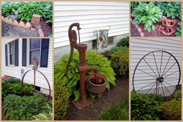 """""""A collage from photos taken earlier this spring, I garden w/ Hostas & Rust. Most of my rust has a family farm story related to it."""""""