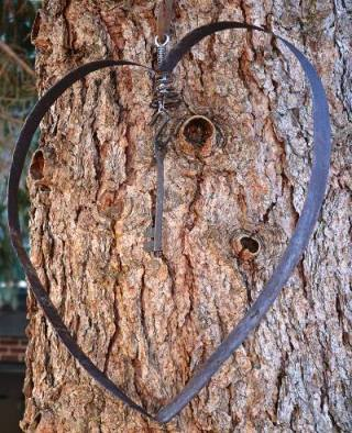 Marie's barrel hoop heart hung from a tree.