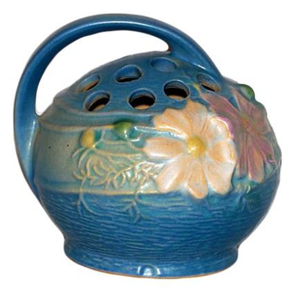 Roseville Pottery Cosmos Blue Flower Frog