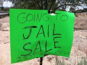 Going to Jail yard sale sign