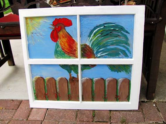 Brenda Propst's rooster painted window