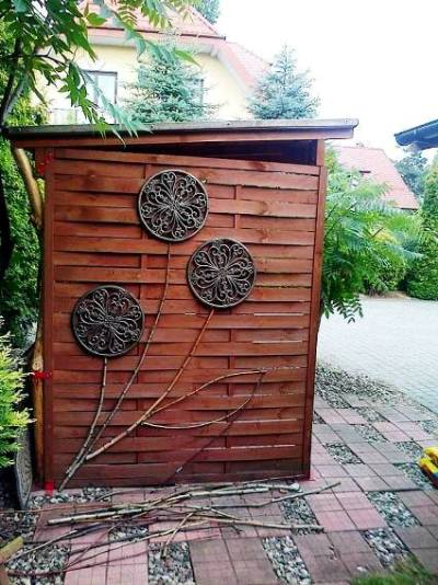 Surprising objects decorate the shed
