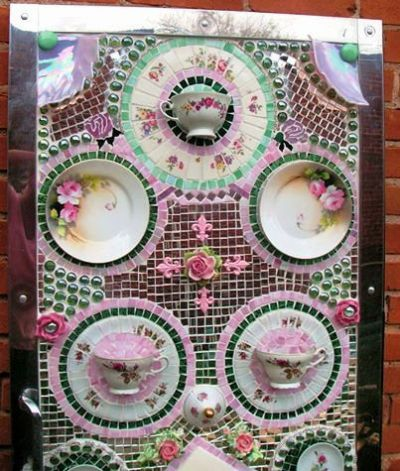 Becky's cup and saucer panel, close up