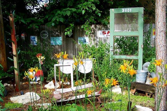 Our junk garden in spring