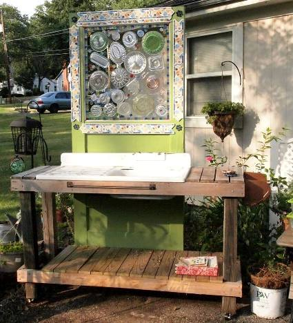Mary Hunt used her window as decoration behind her potting table