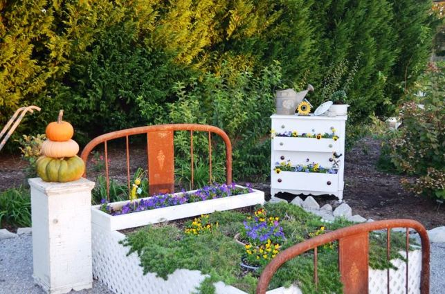 There's more then one kind of flower bed in Christy's garden,...this one complete with beside table and dresser!