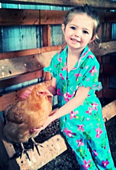 Sherri Calvert's little chicken hugger