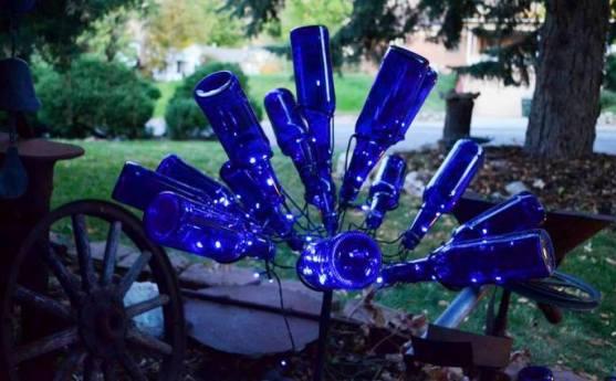 Solar powered bottle bush