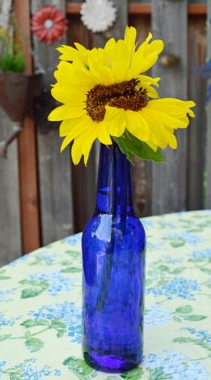 """Marie says, """"I love yellow with cobalt blue. Notice the unusual shape?"""""""