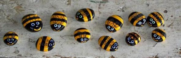 Buzzy bees can be made from smooth stones