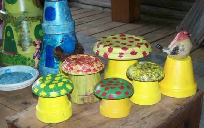 Mushrooms, houses, perches and ponds made from flower pots with sealer for protection