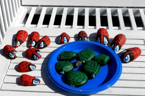 Carol Ann McLaughlin painted smooth stones into ladybugs and turtles