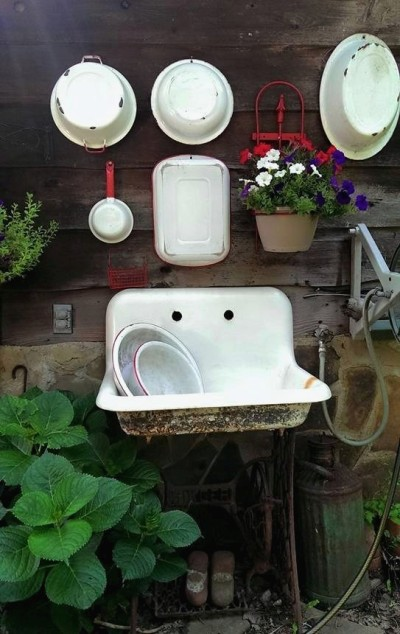 Diane Garvey's sink and shed wall design