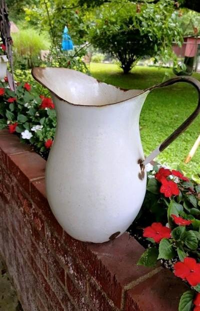 Tanya Treasure's simple and elegant enamelware pitcher