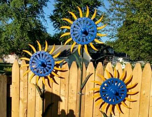 Gears and gadgets as garden art