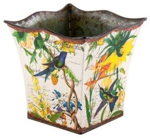 Hummingbird Tin Planter, Small