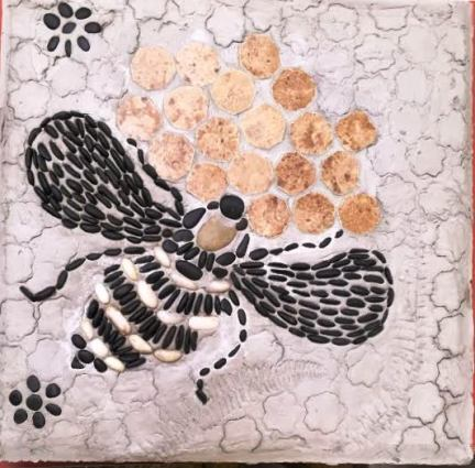 Becky Norris's mosaiced bee stepping stone