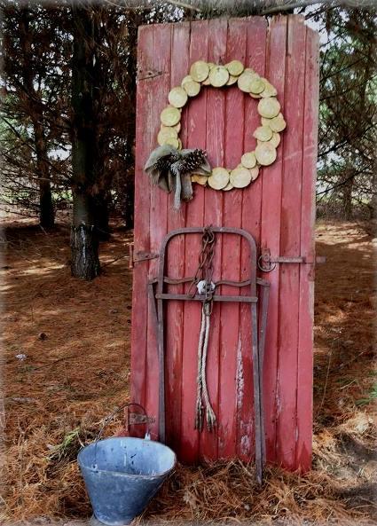 Jeanne Sammons's door anchors this vignette