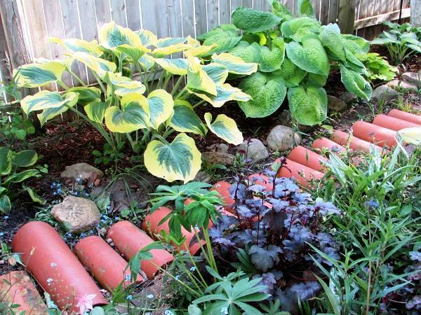 Drainage tile path in the side garden