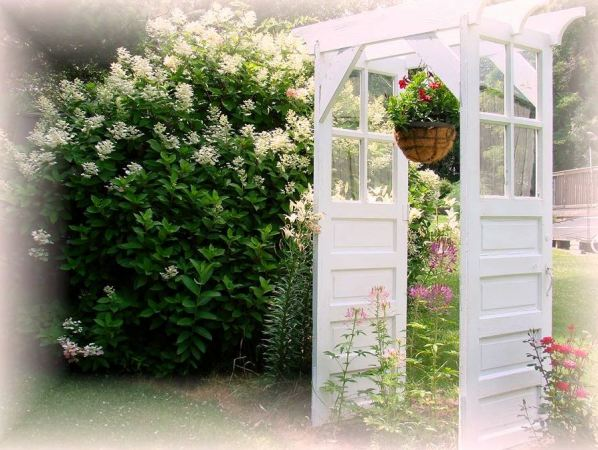 The finished, door arbor 'redo,' romantic and delightful!
