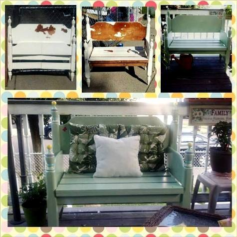 Stacy Castricone's new porch bench from old chippy headboard