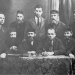 Rabbi Baruch Cywiak (front row, second from left) on the board of directors of a Jewish bank. Photo courtesy of Israel Pshetitsky of the Wyszków Association in Israel.