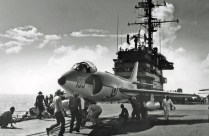 Royal Navy Supermarine Scimitar on USS Saratoga c1957