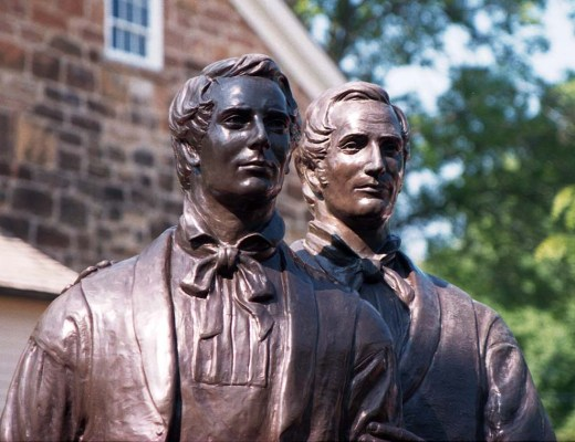 Statues of Joseph and Hyrum Smith outside of Carthage Jail, where they were shot by a mob in 1844.