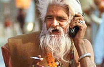 old man using cell