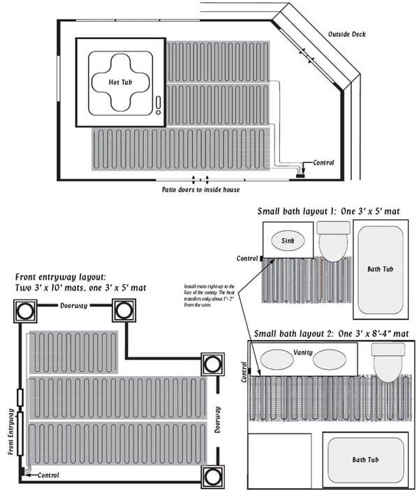Heated floor mat, heat mat, radiant floor heat mat, radiant floor heating supply, radiant floor heating mat, radiant floor mat, flooring heating System, tile heating,
