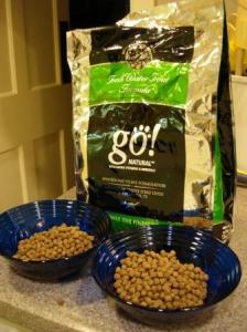 Go! Natural Fresh Water Trout Dry Formula in bowls