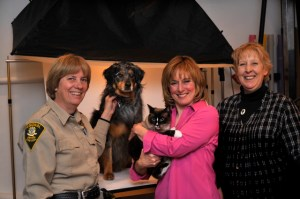 Audrey McKay, Chief Animal Control Officer, Bindi Su, Frankie, Sally Andersen-Bruce stamp photographer, Renee Gardner, manager Animal Welfare Society New Milford, CT