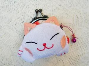 Mini Pink White Lucky Cat Clutch Wallet $8.99