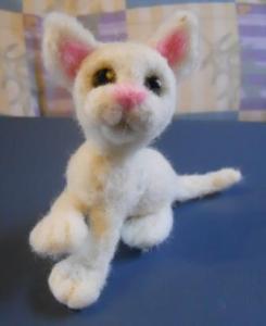 Needle Felted White Cat $25