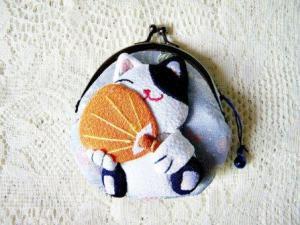 Mini Blue White Lucky Cat Clutch Wallet $8.99
