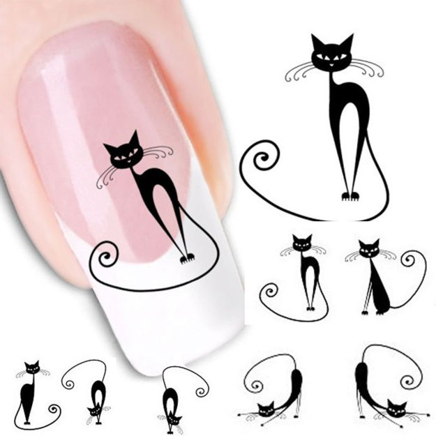 Meily(TM) Cute cat Water Transfer Slide Decal Sticker Nail Art Tips Toe Decoration