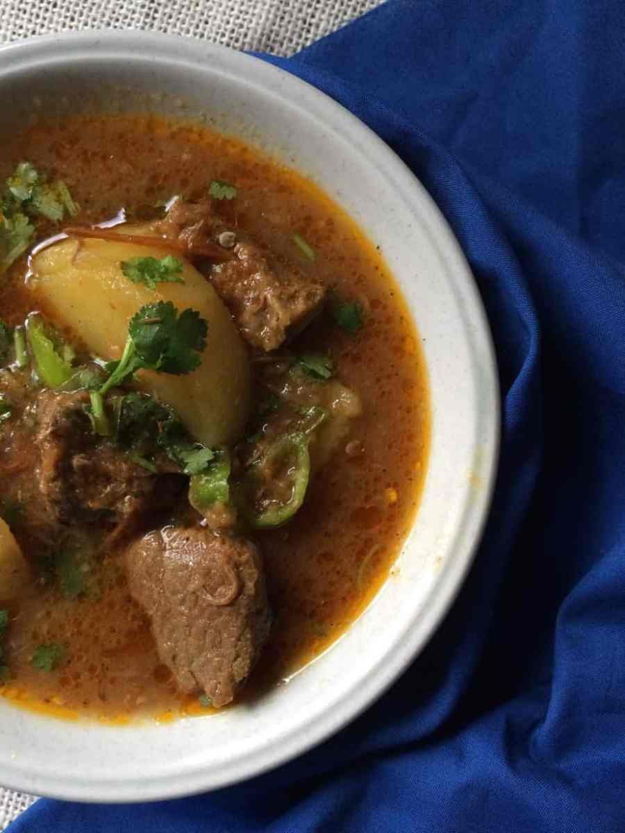 A Delicious Aalu Gosht or Beef and Potato Curry