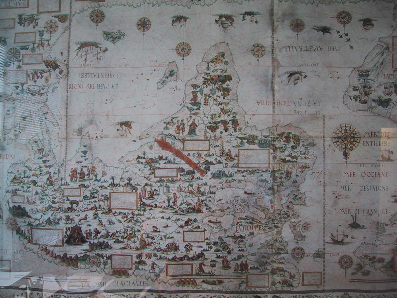 The Upsidedown Map Page   Francis Irving Pierre Desceliers 1550 world map
